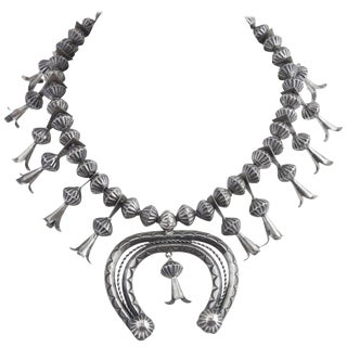 Vintage Mid Century Silver Squash Blossom Necklace For Sale