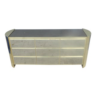 1970's Ello Brass, Wood & Smokey Mirror Long Chest of Drawers / Credenza For Sale