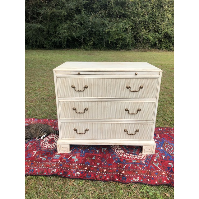 Hickory White Chest With Flutted Drawers and Greek Key Legs For Sale - Image 10 of 13