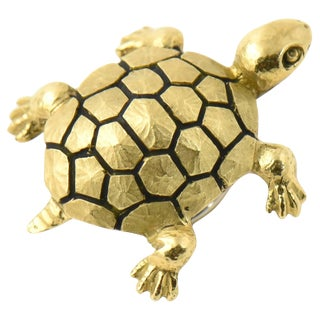 Enamel Gold Turtle Brooch For Sale