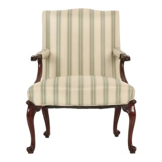 18th Century English Chippendale Mahogany Antique Lounge Chair For Sale