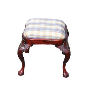 20th Century Queen Anne Style Solid Mahogany Footstool