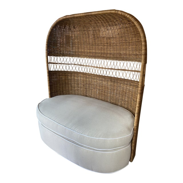 Vintage Wicker and Rattan Newly Upholstered Dome Hooded Loveseat Settee Chair For Sale