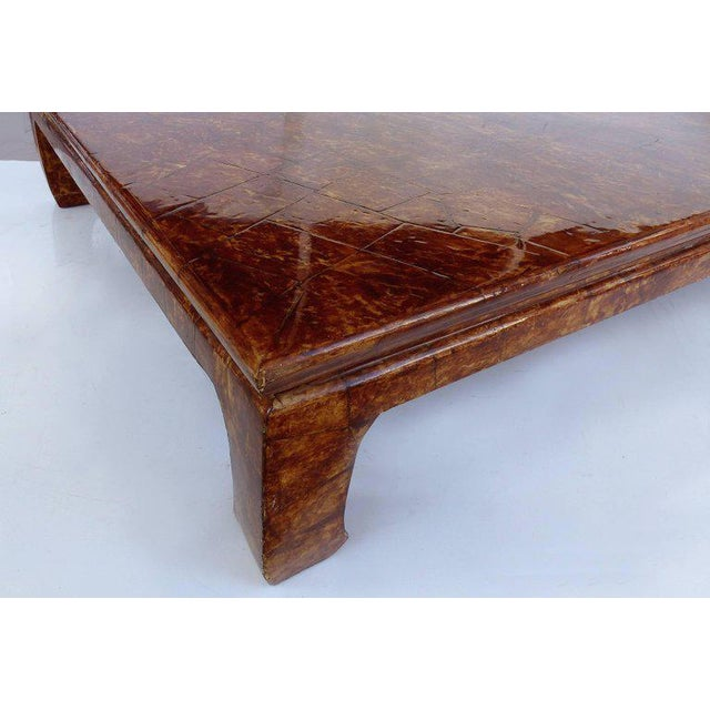 Karl Springer Monumental Karl Springer, Signed Goatskin Coffee Table with Faux Tortoise Finish For Sale - Image 4 of 8