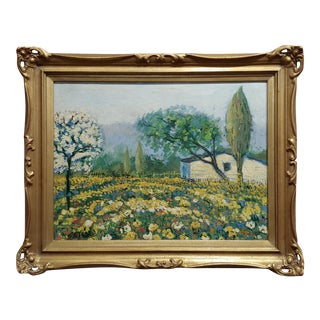 "Stefano ""Cottage in Beautiful Flower Garden"" Oil Painting For Sale"