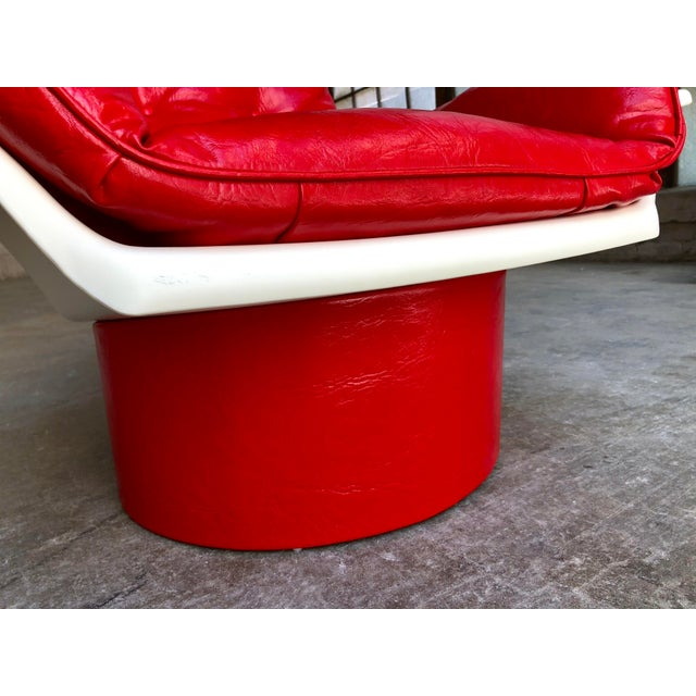 Red Mid Century Modern Space Age Red Leather Swivel Lounge Chair Molded Plastic Decorion Futorian Italian Style Vintage MCM For Sale - Image 8 of 11