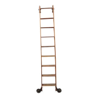 Early 20th C. Antique Original American Library Ladder For Sale