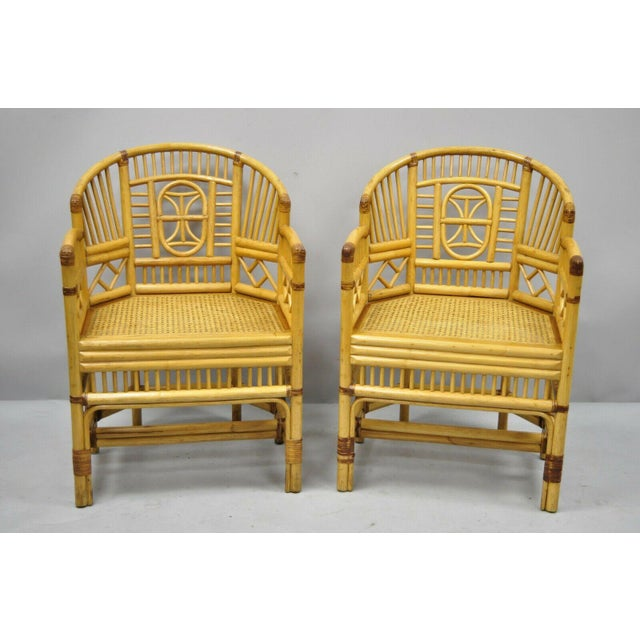 Vintage Brighton Pavilion Style Bamboo & Cane Rattan Arm Chairs- A Pair For Sale - Image 11 of 11