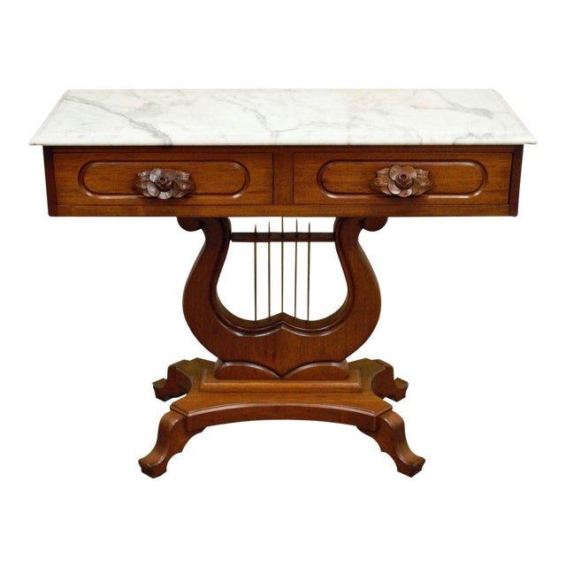 Marble Top Lyre Coffee Table: Vintage Victorian Mahogany Marble Top Lyre Harp Base Table