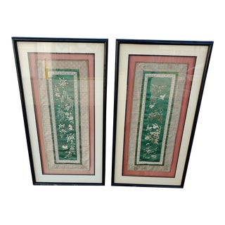 Framed Japanese Embroidered Silk Panels - a Pair For Sale