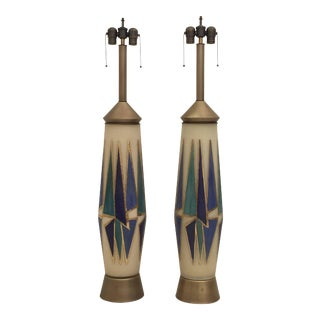 Giant Opaline Glass Mid-Century Table or Floor Lamps with Abstract Design - a Pair For Sale