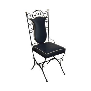 1950's Vintage Custom Quality Scrolled Wrought Iron Side Chair For Sale
