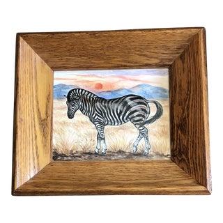 Original Contemporary Zebra Watercolor Painting Vintage Deep Oak Mid Century Frame For Sale