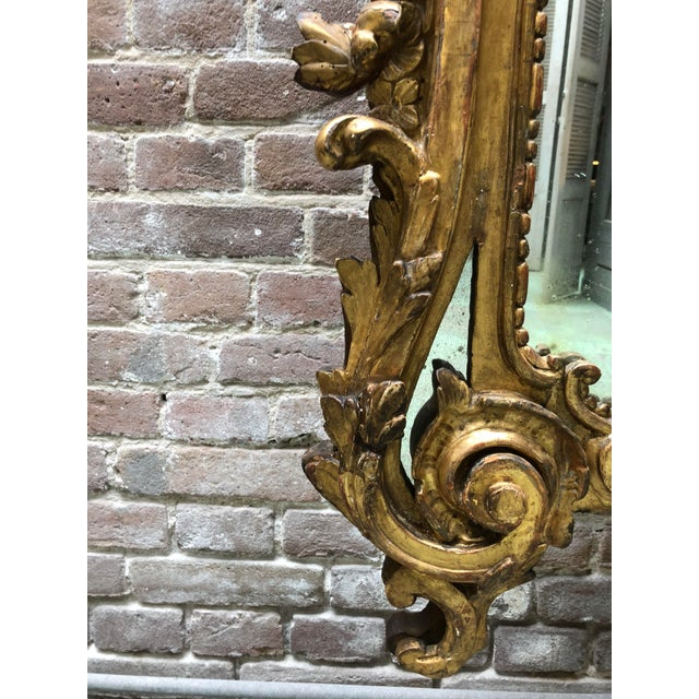 Gold Leaf 18th Century Carved Gilt Wood Louis XV Mirror, Provenance Paris France For Sale - Image 7 of 10