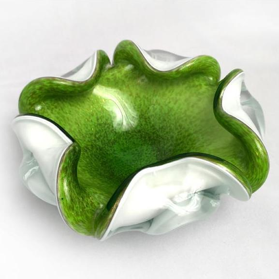 1950s vintage mid-century Murano chartreuse glass dish attributed to Fratelli Tosa. A unique way to serve nuts/candy at...