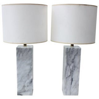 Pair of Marble Table Lamps For Sale