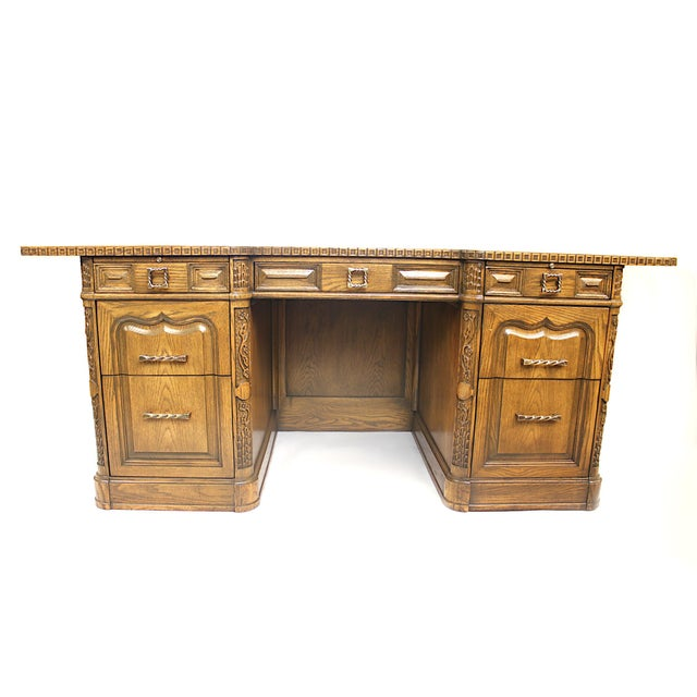 Vintage Viking Oak Executive Desk With Matching Chair By Romweber Chairish