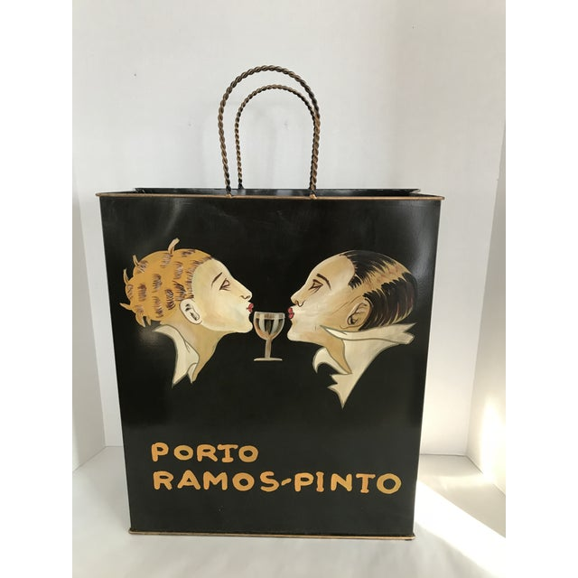 Metal Porto Ramos Pinto Tole Ware Wine Magazine Basket Bag For Sale - Image 7 of 11