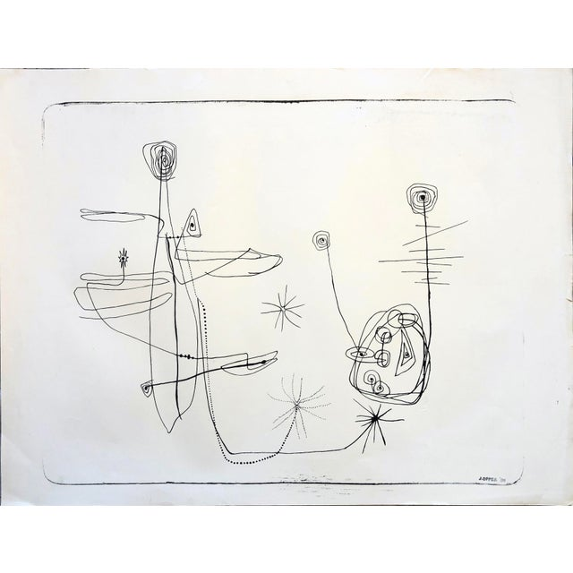 Lithograph Jerry Opper 1940-50s Abstract Line Print For Sale - Image 7 of 7
