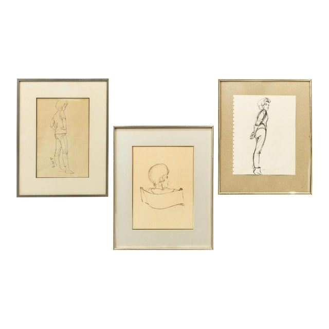 1970s Framed Female Ink Drawing Studies by Ralph E. White - Set of 3 For Sale
