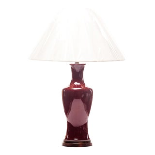 Lawrence & Scott Baluster Pinot Red & Rosewood Stand Table Lamp For Sale