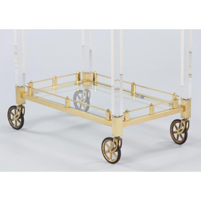 1970s Spanish Lucite and Brass Bar Cart For Sale In Austin - Image 6 of 11