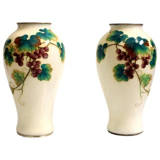 Ando Jubei Japanese Cloisonne Vases With Grapes - a Pair For Sale