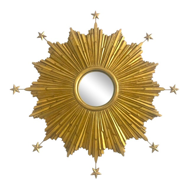 Exquisite Starburst Mirror With Antique Gold Leaf Finish For Sale
