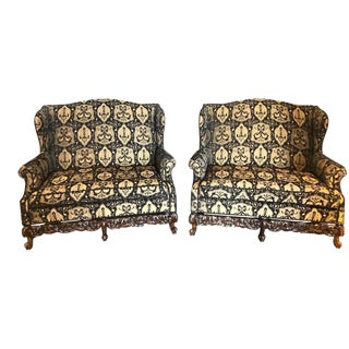 19th-Early 20th Century Settees / Canapes Rococo Style in Fine Fabric For Sale
