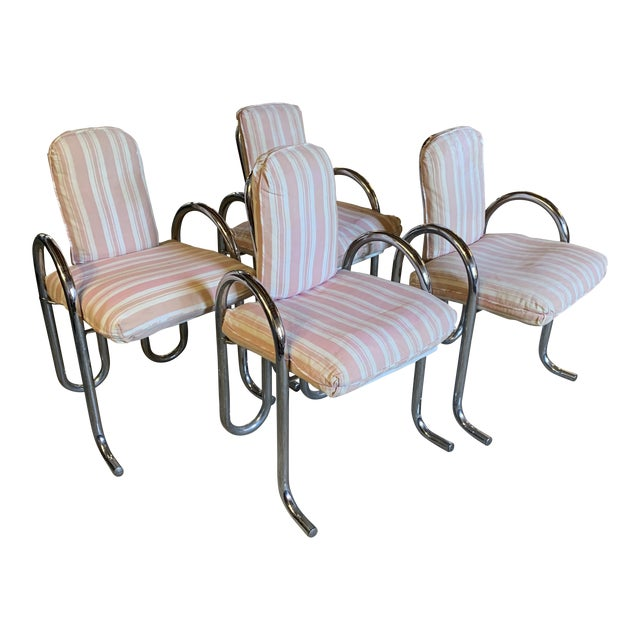 Post Modern Chrome Tubular Dining Chairs For Sale