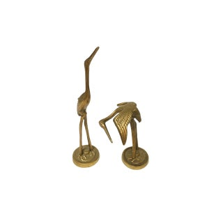 1960s Vintage Brass Flamingo Marabou Bird Figurines- A Pair For Sale