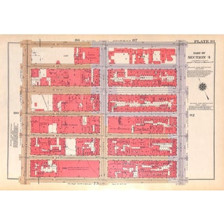 Nyc Map, West Side, W. 53rd Thru W. 59th, Columbus Circle, Broadway, Parc Vendome, 1934 (Pl. 81-82) For Sale