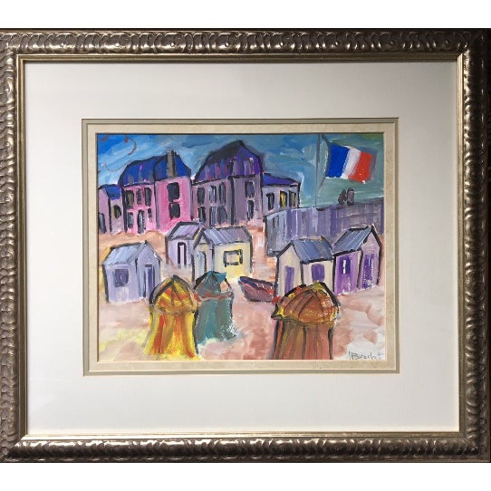 """""""French Flag Floating in the Wind on a Beach"""" Painting For Sale - Image 5 of 5"""