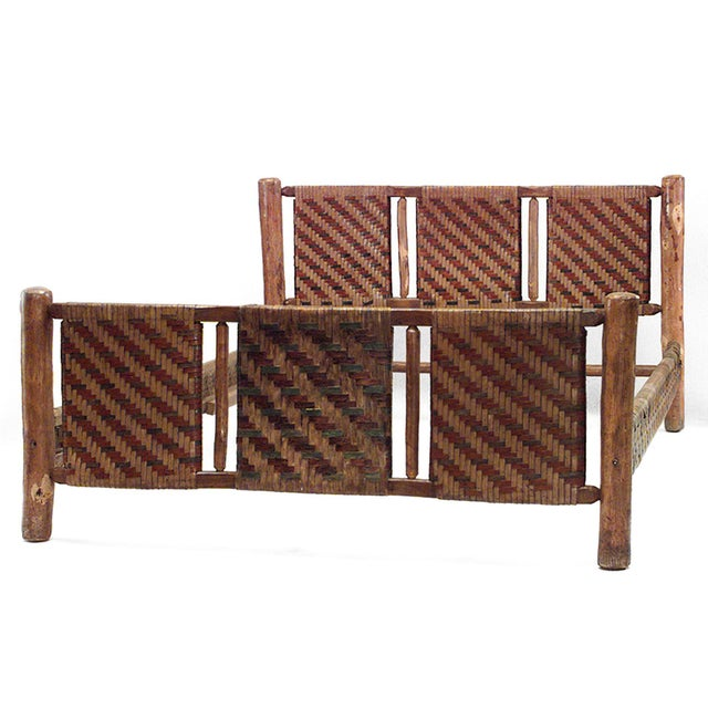 Old Hickory Furniture Company 20th C. American Old Hickory Woven Design Bed For Sale - Image 4 of 4
