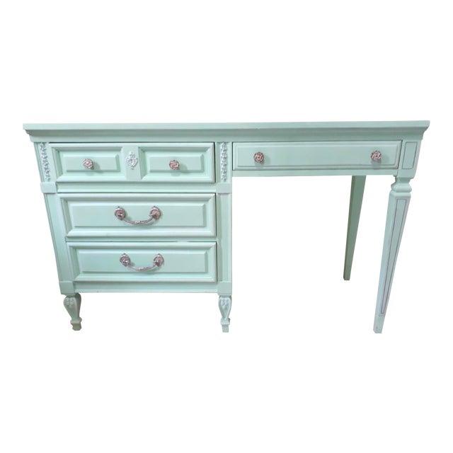Aqua Blue Chalk Paint Writing Desk For Sale