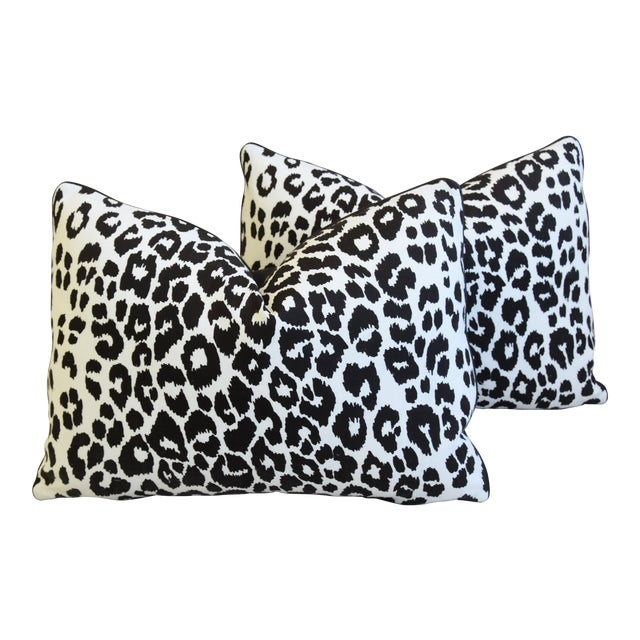 """Schumacher Animal Leopard Spot & Leather Feather/Down Pillows 22"""" X 16"""" - Pair For Sale"""