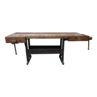 Vintage Wood Work Bench Table For Sale