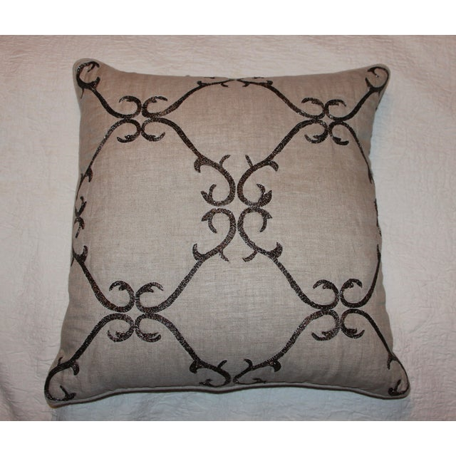 Beaded Linen Pillow by Sferra - Image 3 of 5