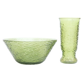 Anchor Hocking 'Soreno' Green Glass Bowl & Vase Set For Sale