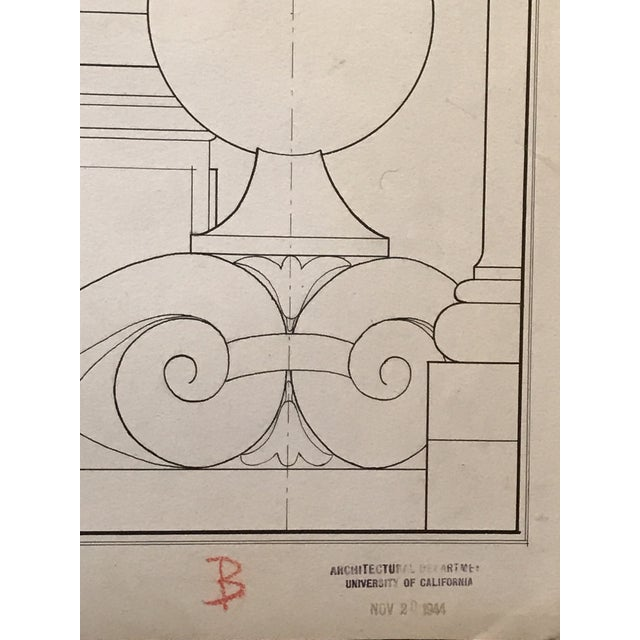 "Americana Ruth Opper 1944 Architectural Drawing ""A Well Head Bologna"" For Sale - Image 3 of 9"
