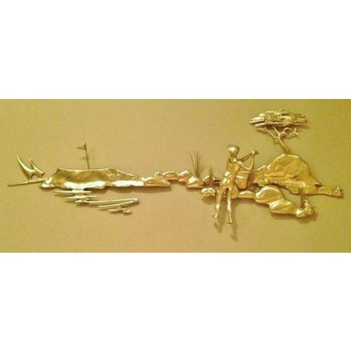 """48"""" bijan 1980's 3 dimensional metal wall artwork sculpture of a brass golfer with a club. This very rare & totally..."""