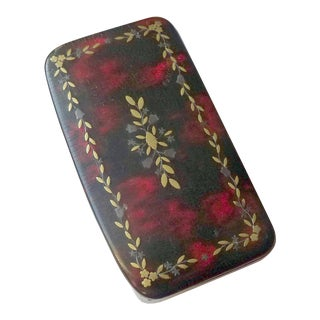 Antique Faux Tortoise Brass and Pewter Inlay Snuff Box For Sale