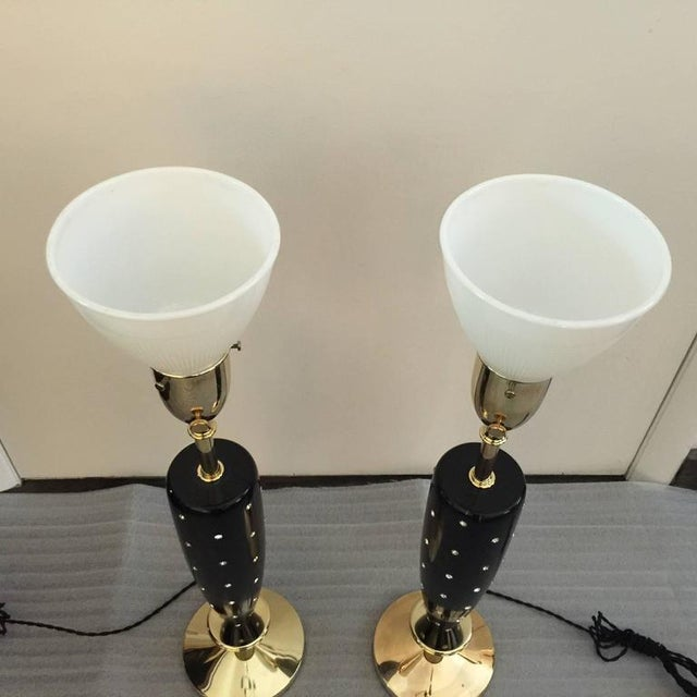 Hollywood Regency Pair of Mid-Century Rhinestone Studded Lamps by Rembrandt For Sale - Image 3 of 7