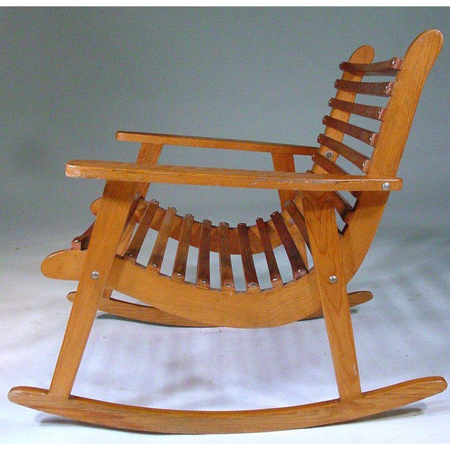 Mid-Century Modern Michael Van Beuren Easy Rocking Chair, Pair for Domus For Sale - Image 3 of 4