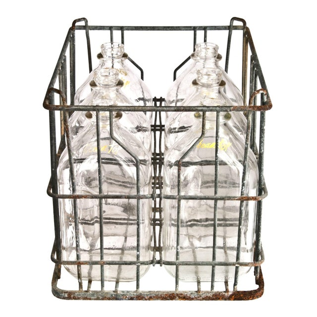 Galvanized Wire Crate & Glass Cream Top Bottles - Set of 6 - Image 2 of 2