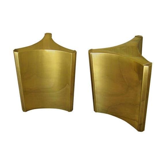 "Brass ""Trilobi"" Table Bases by Mastercraft - Pair For Sale"
