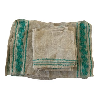 Vintage 1950s Boho Chic Napkins and Placemats - 16 Piece Set For Sale