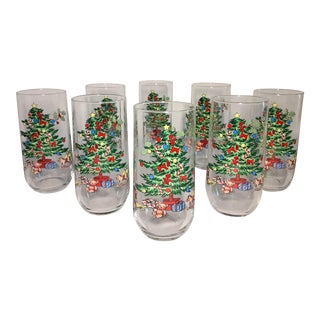 Vintage Mid Century Christmas Tree Clear Glasses - Set of 8 For Sale
