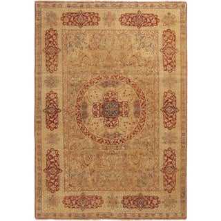 New Agra Red and Beige Wool Rug For Sale