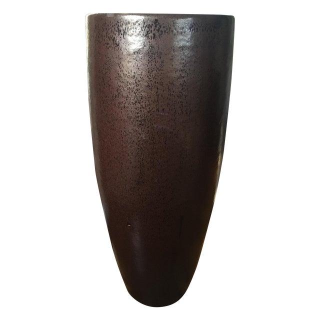 Tall Glazed Ceramic Architectural Pot Planter - Image 1 of 3